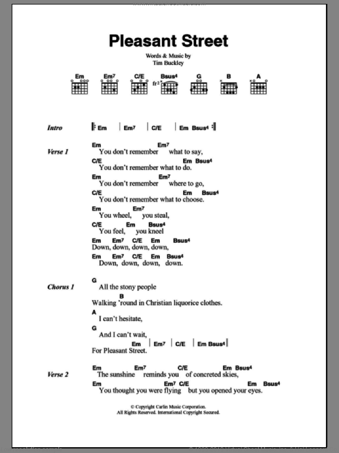 Pleasant Street sheet music for guitar (chords) by Tim Buckley, intermediate. Score Image Preview.