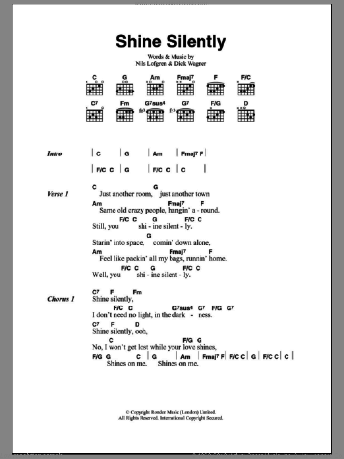 Shine Silently sheet music for guitar (chords) by Dick Wagner