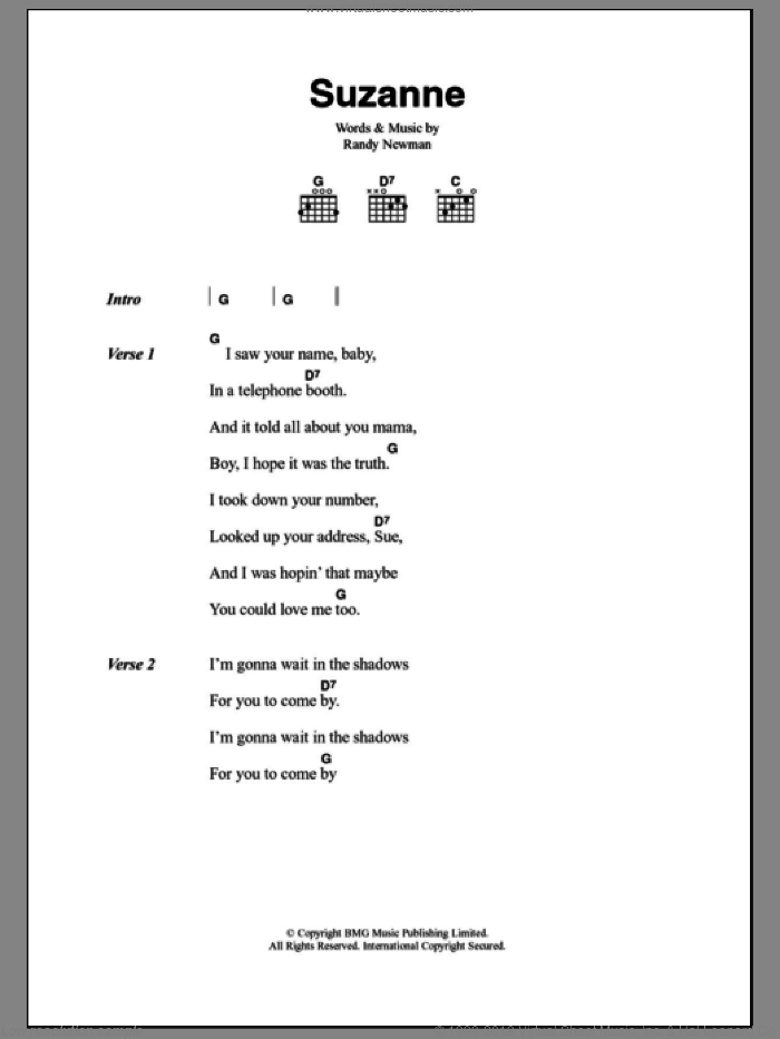 Suzanne sheet music for guitar (chords) by Randy Newman, intermediate
