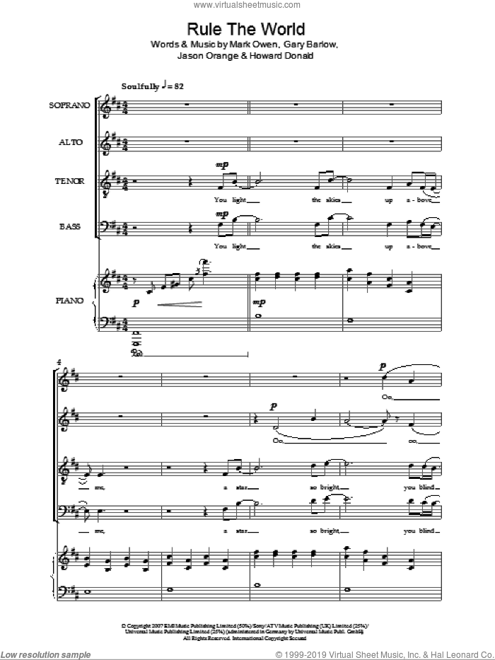 Rule The World sheet music for choir (SATB) by Take That, Gary Barlow and Mark Owen, intermediate. Score Image Preview.
