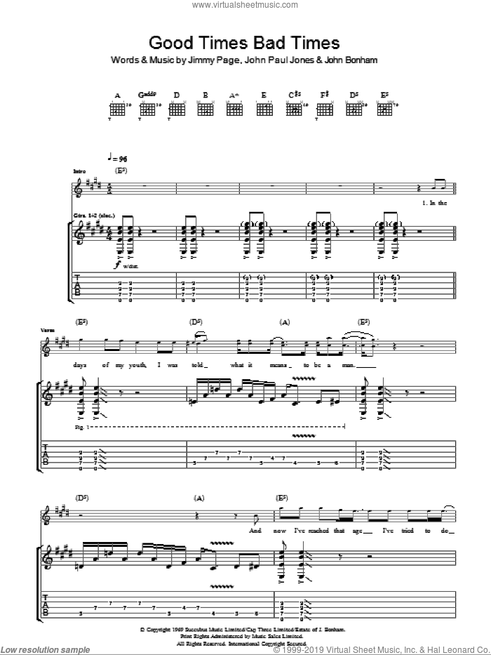 Good Times Bad Times sheet music for guitar (tablature) by Led Zeppelin, Jimmy Page, John Bonham and John Paul Jones, intermediate. Score Image Preview.