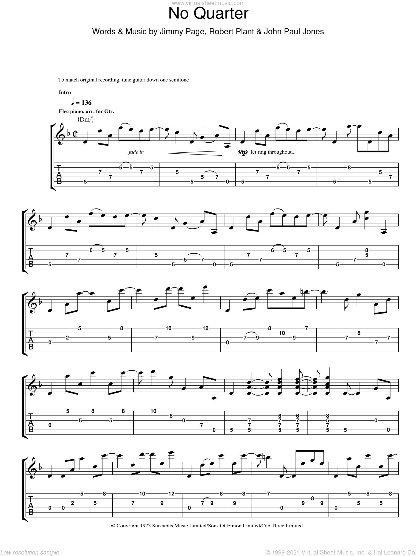 No Quarter sheet music for guitar (tablature) by Led Zeppelin, Jimmy Page, John Paul Jones and Robert Plant, intermediate