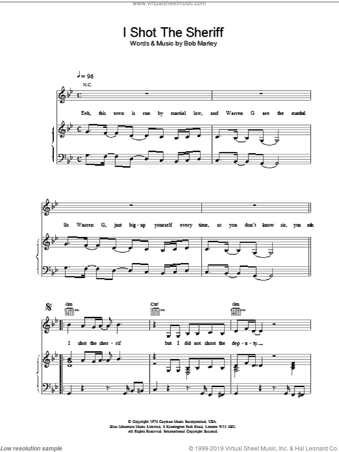 I Shot The Sherrif sheet music for voice, piano or guitar by Bob Marley and Eric Clapton, intermediate skill level