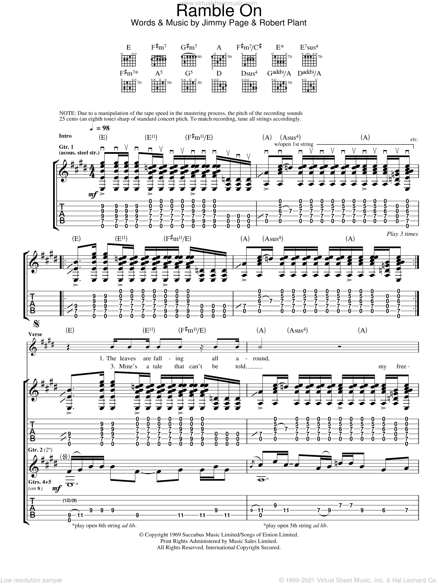 Ramble On sheet music for guitar (tablature) by Led Zeppelin, Jimmy Page and Robert Plant, intermediate skill level