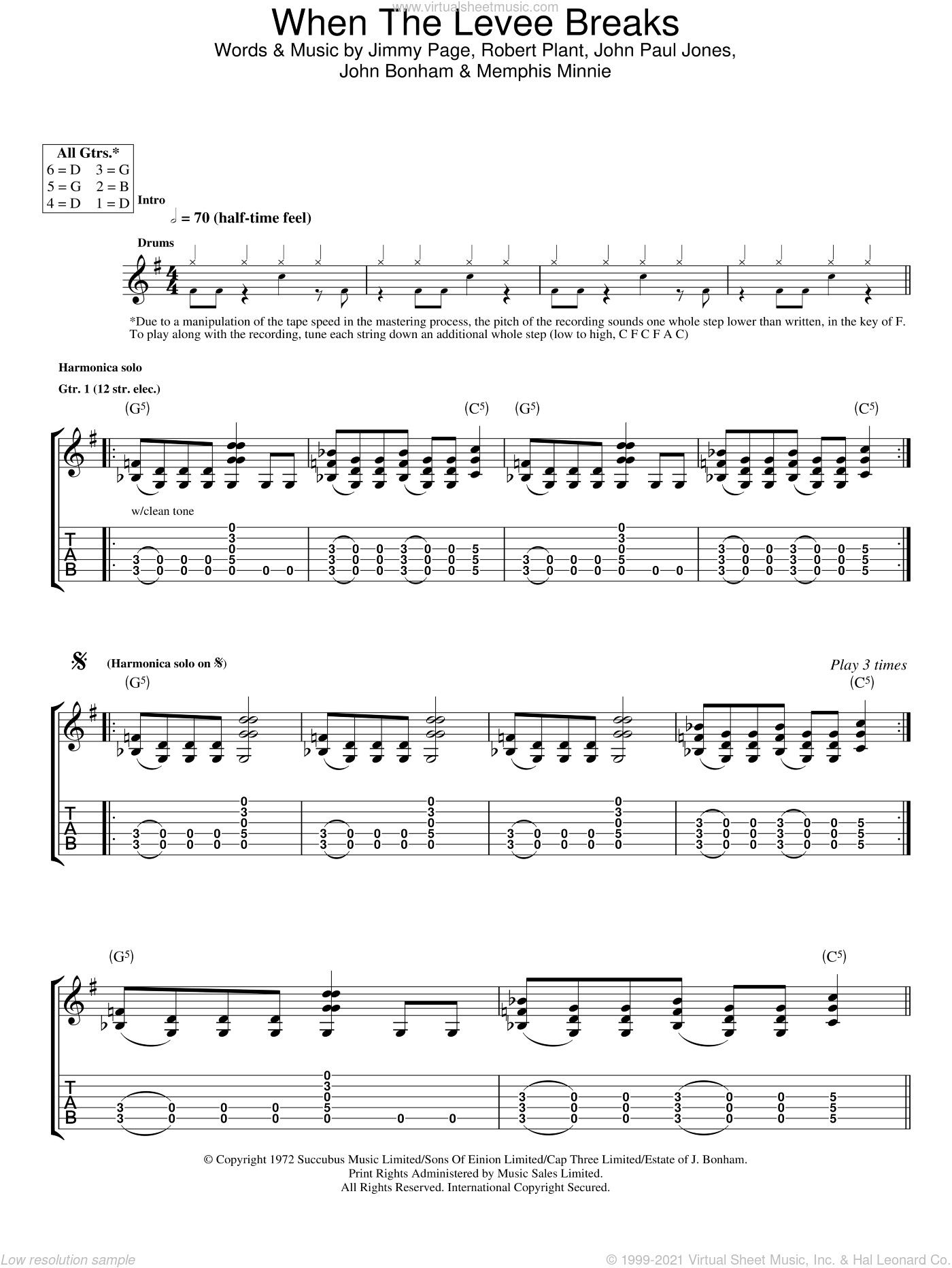 When The Levee Breaks sheet music for guitar (tablature) by Led Zeppelin, Jimmy Page and Robert Plant, intermediate skill level