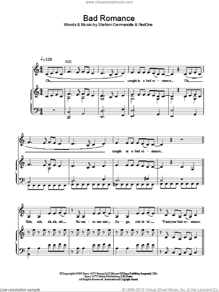Bad Romance sheet music for voice, piano or guitar by Lady GaGa and RedOne, intermediate skill level