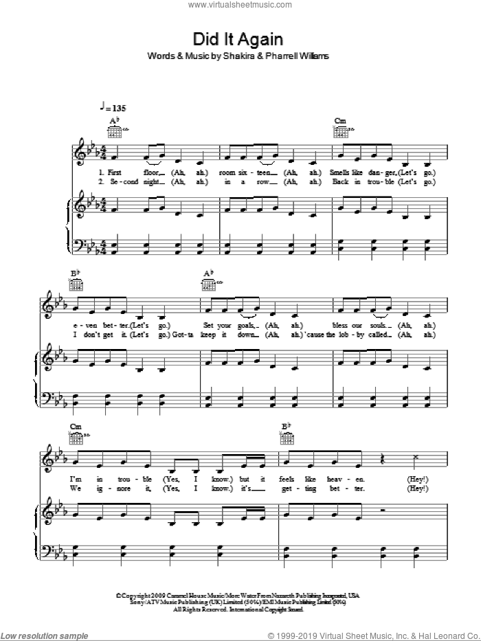 Did It Again sheet music for voice, piano or guitar by Shakira and Pharrell Williams, intermediate skill level