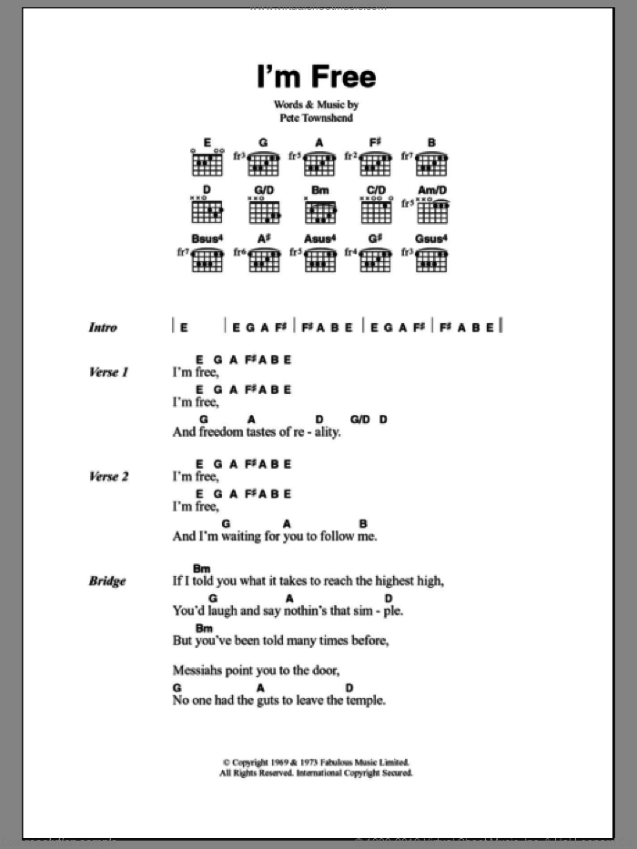 I'm Free sheet music for guitar (chords) by The Who and Pete Townshend, intermediate skill level