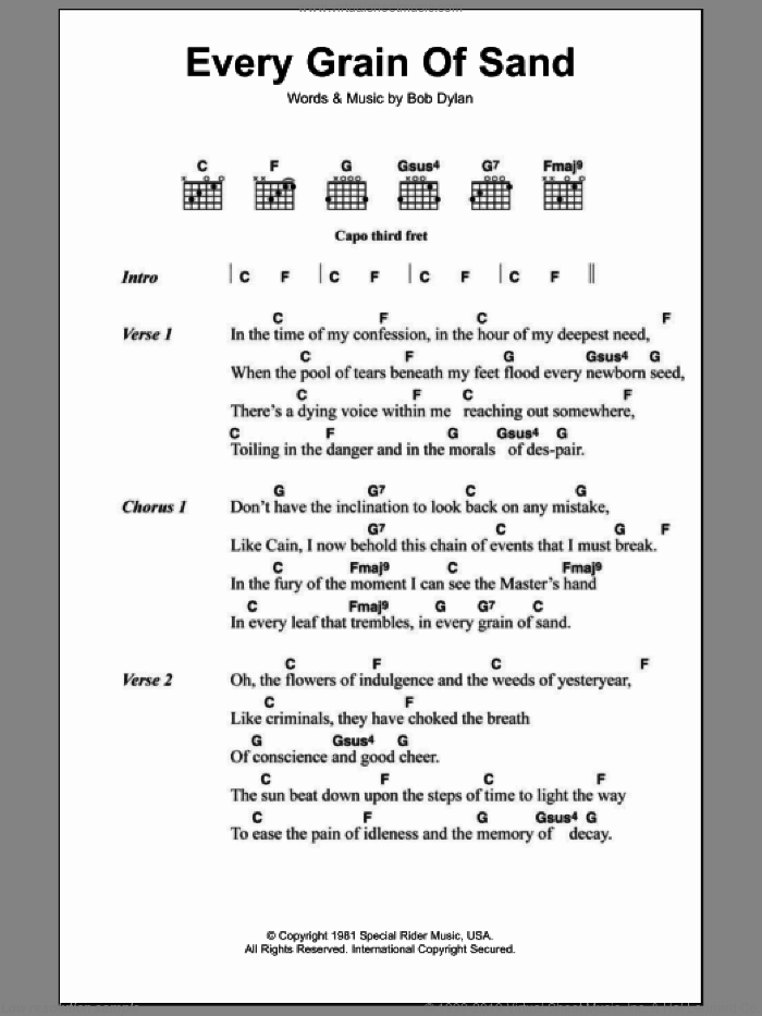 Every Grain Of Sand sheet music for guitar (chords) by Bob Dylan. Score Image Preview.