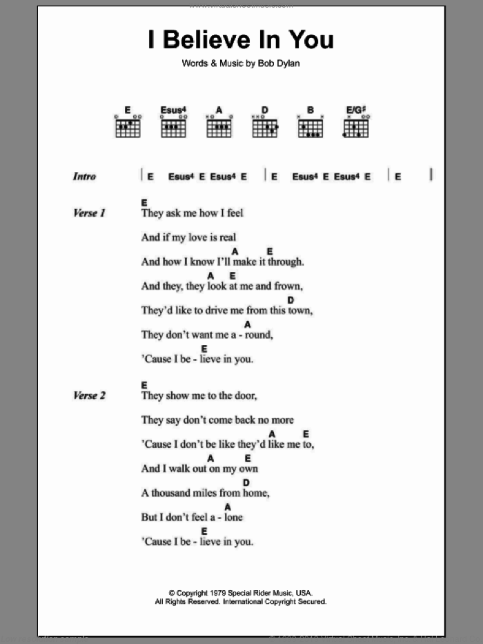 I Believe In You sheet music for guitar (chords) by Bob Dylan, intermediate skill level