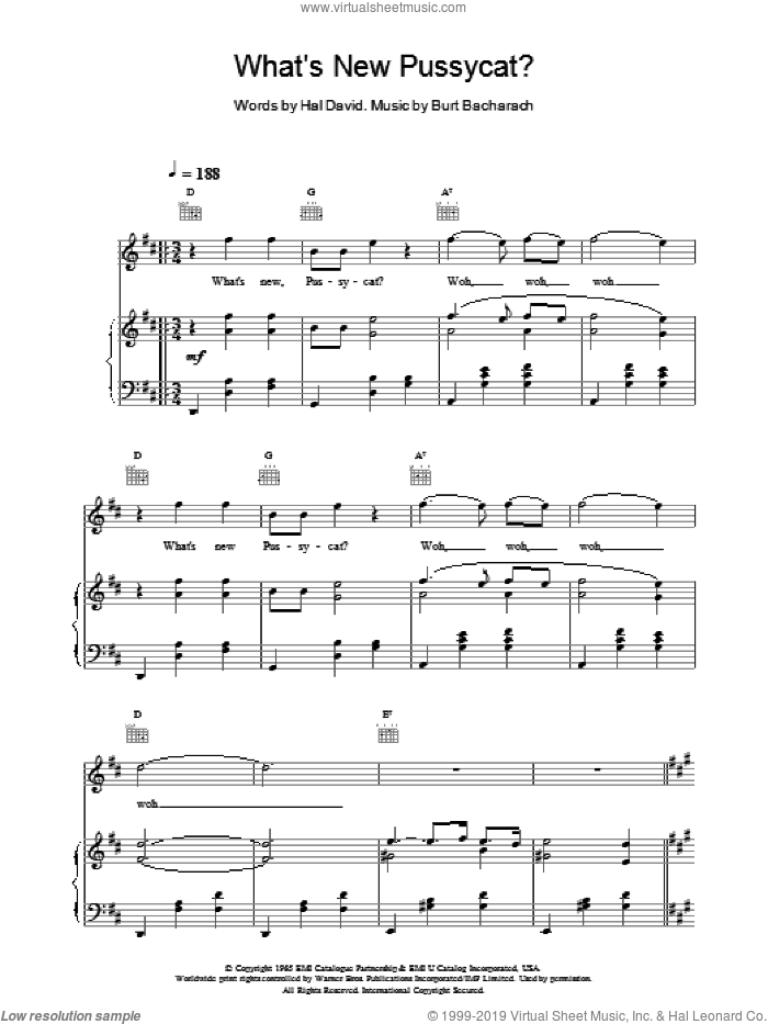 What's New Pussycat sheet music for voice, piano or guitar by Tom Jones and Paul Anka. Score Image Preview.