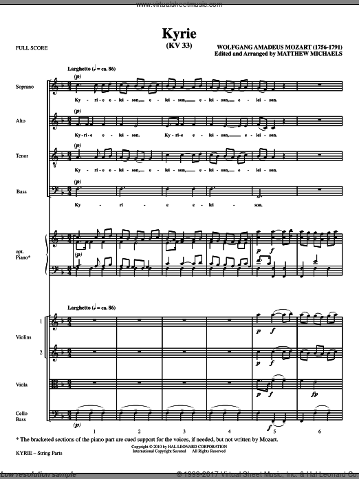 Kyrie (KV33) (COMPLETE) sheet music for orchestra by Wolfgang Amadeus Mozart