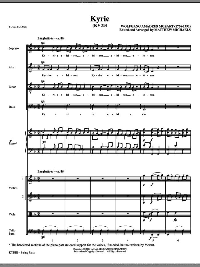 Kyrie (KV33) (COMPLETE) sheet music for orchestra/band (Strings) by Wolfgang Amadeus Mozart and Matthew Michaels, classical score, intermediate skill level