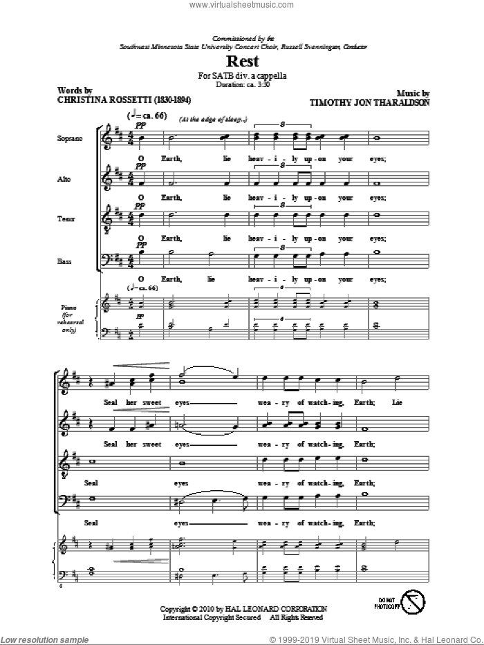 Rest sheet music for choir and piano (SATB) by Timothy Tharaldson and Christina Rossetti