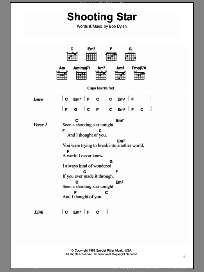 Shooting Star sheet music for guitar (chords) by Bob Dylan. Score Image Preview.