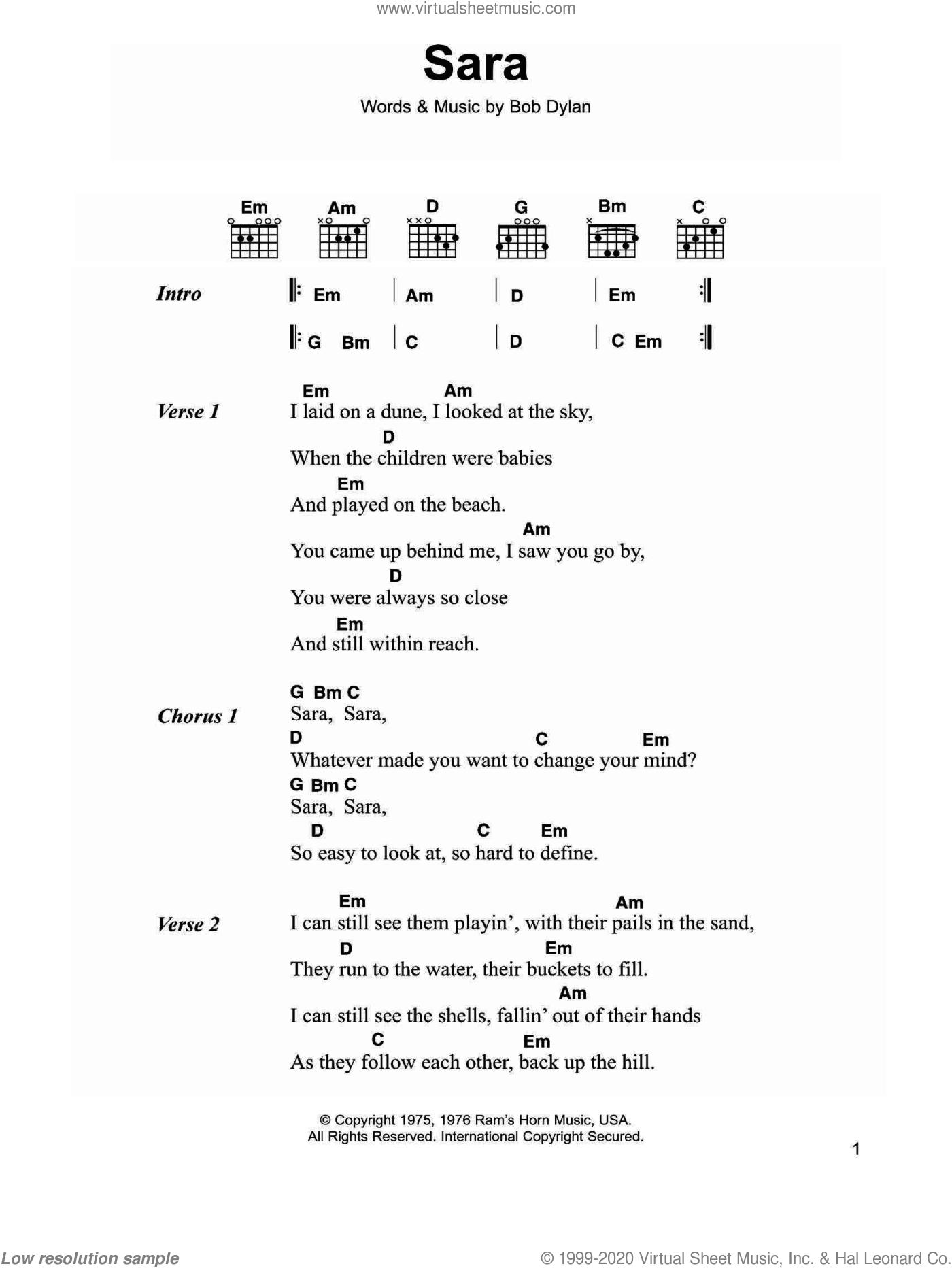 Sara sheet music for guitar (chords) by Bob Dylan, intermediate. Score Image Preview.