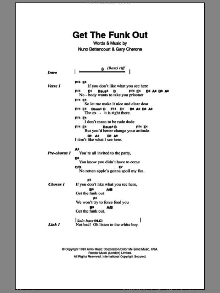 Get The Funk Out sheet music for guitar (chords) by Nuno Bettencourt