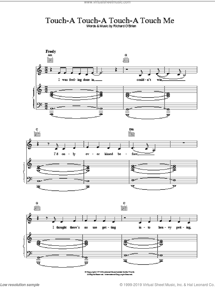 Touch-A, Touch-A, Touch-A, Touch Me sheet music for voice, piano or guitar by Richard O'Brien. Score Image Preview.