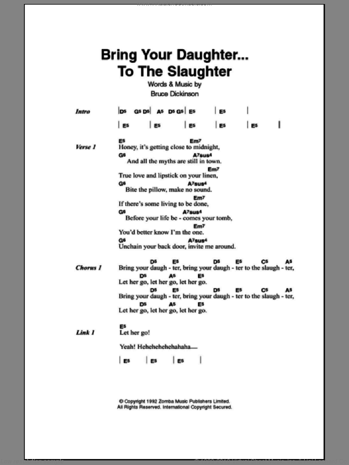 Bring Your Daughter To The Slaughter sheet music for guitar (chords) by Bruce Dickinson