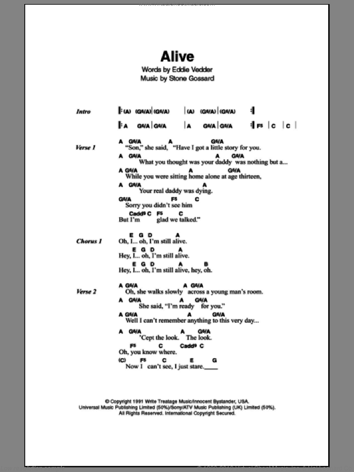 Alive sheet music for guitar solo (chords, lyrics, melody) by Stone Gossard