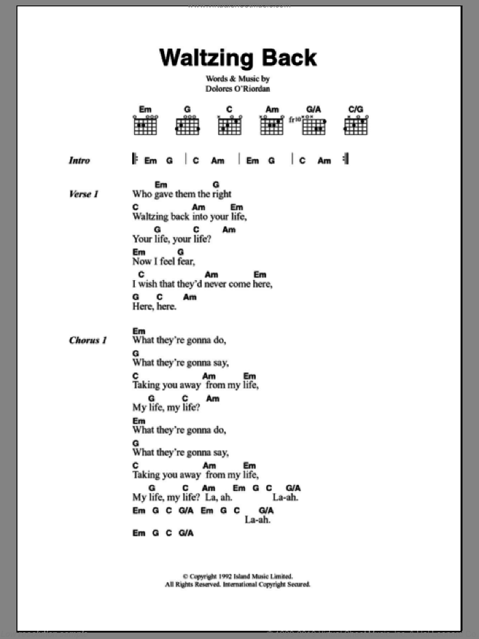 Waltzing Back sheet music for guitar (chords) by Dolores O'Riordan and The Cranberries