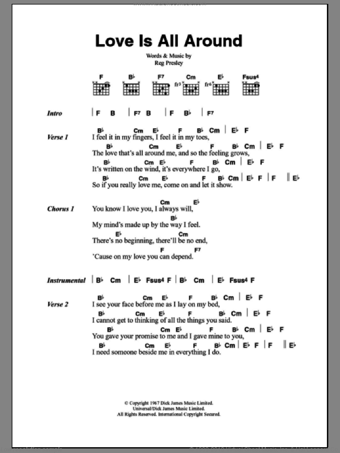 Troggs - Love Is All Around sheet music for guitar (chords) [PDF]