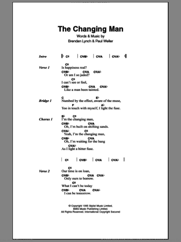 The Changingman sheet music for guitar (chords, lyrics, melody) by Brendan Lynch