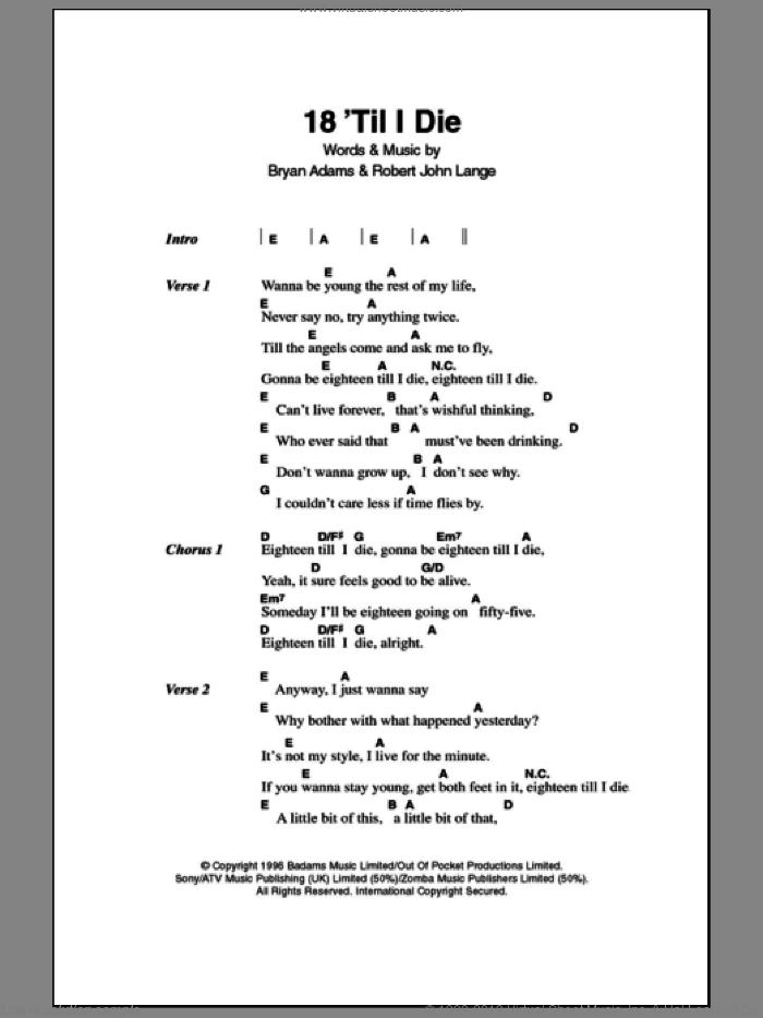 18 'Til I Die sheet music for guitar (chords) by Bryan Adams and Robert John Lange, intermediate skill level