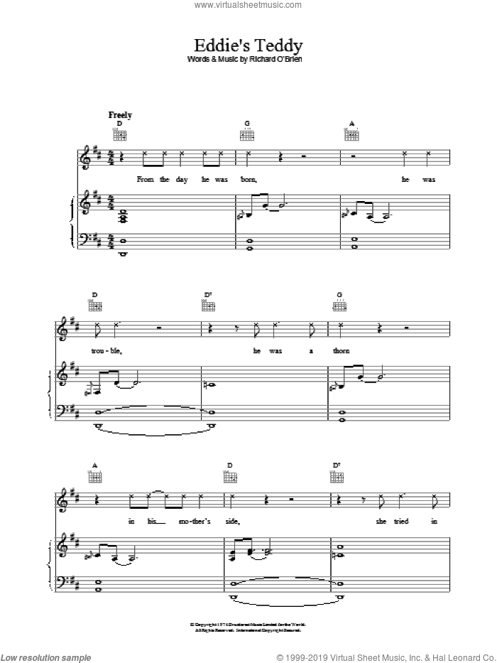 Eddie's Teddy sheet music for voice, piano or guitar by Richard O'Brien, intermediate. Score Image Preview.