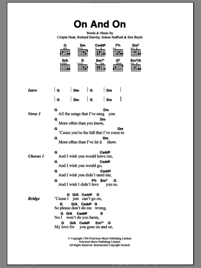 On And On sheet music for guitar (chords) by Simon Stafford, Crispin Hunt and Richard Hawley. Score Image Preview.