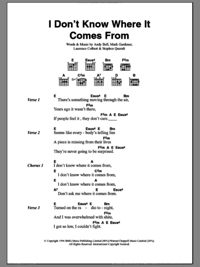 I Don't Know Where It Comes From sheet music for guitar (chords) by Stephen Queralt, Skunk Anansie and Andy Bell