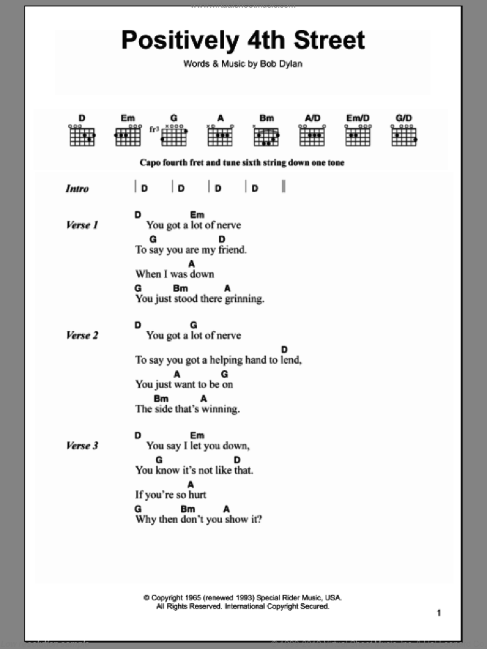 Positively 4th Street sheet music for guitar (chords) by Bob Dylan and Cat Stevens, intermediate guitar (chords). Score Image Preview.