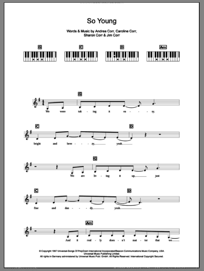 So Young sheet music for piano solo (chords, lyrics, melody) by The Corrs, Andrea Corr, Caroline Corr, Jim Corr and Sharon Corr, intermediate piano (chords, lyrics, melody)