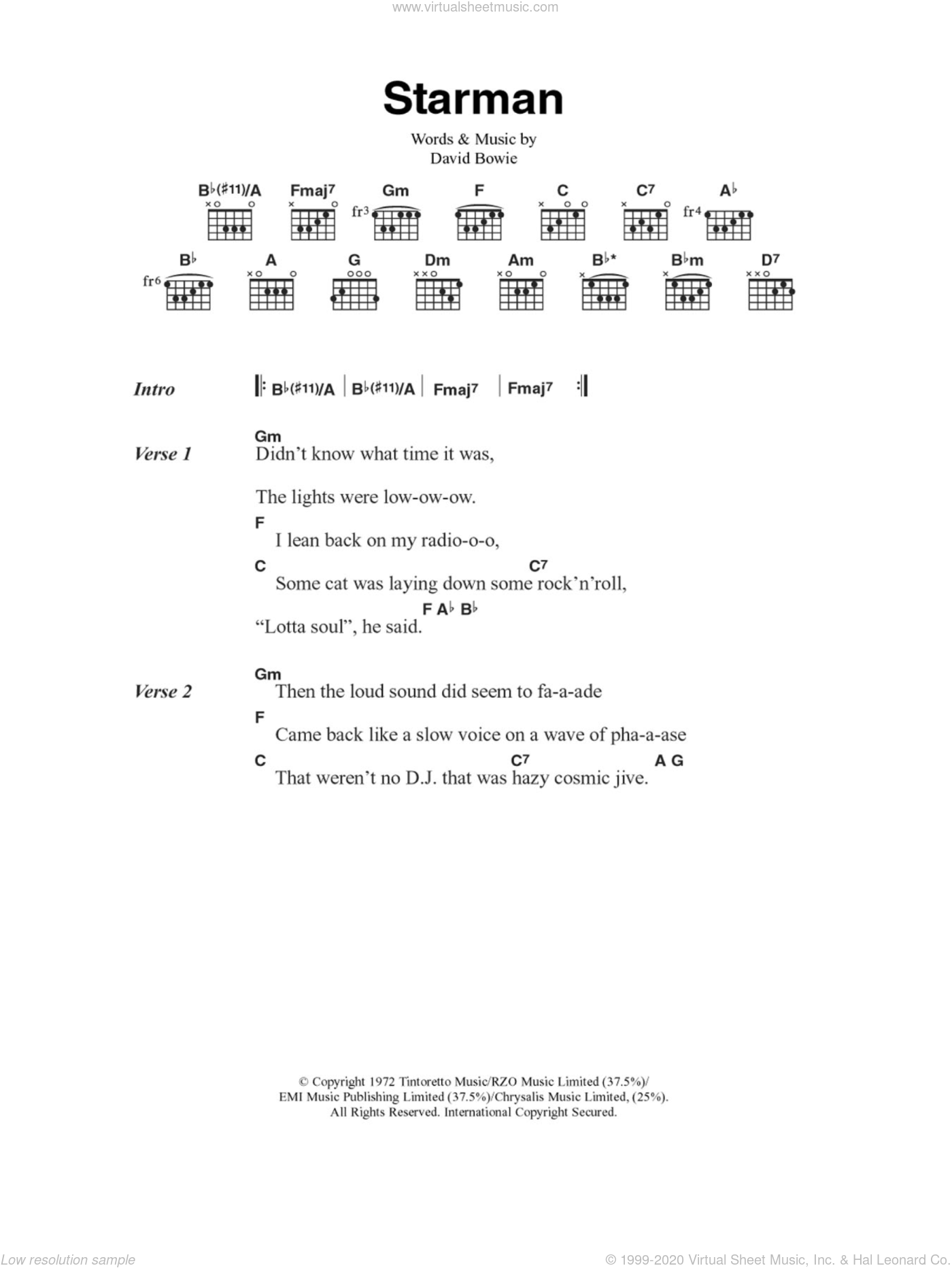 Starman sheet music for guitar (chords) by David Bowie. Score Image Preview.