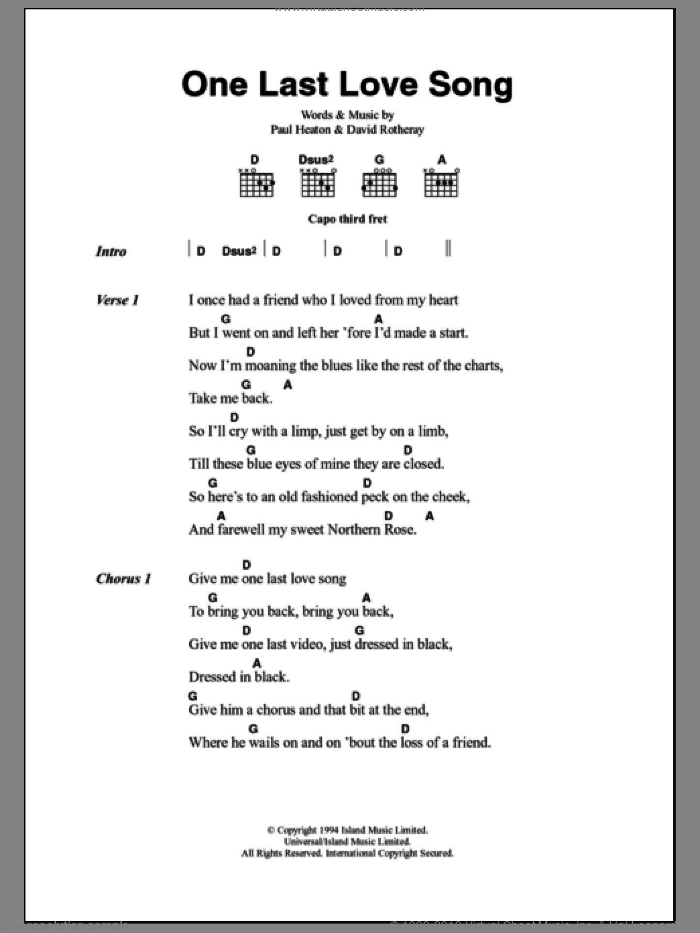 One Last Love Song sheet music for guitar (chords) by The Beautiful South, intermediate. Score Image Preview.