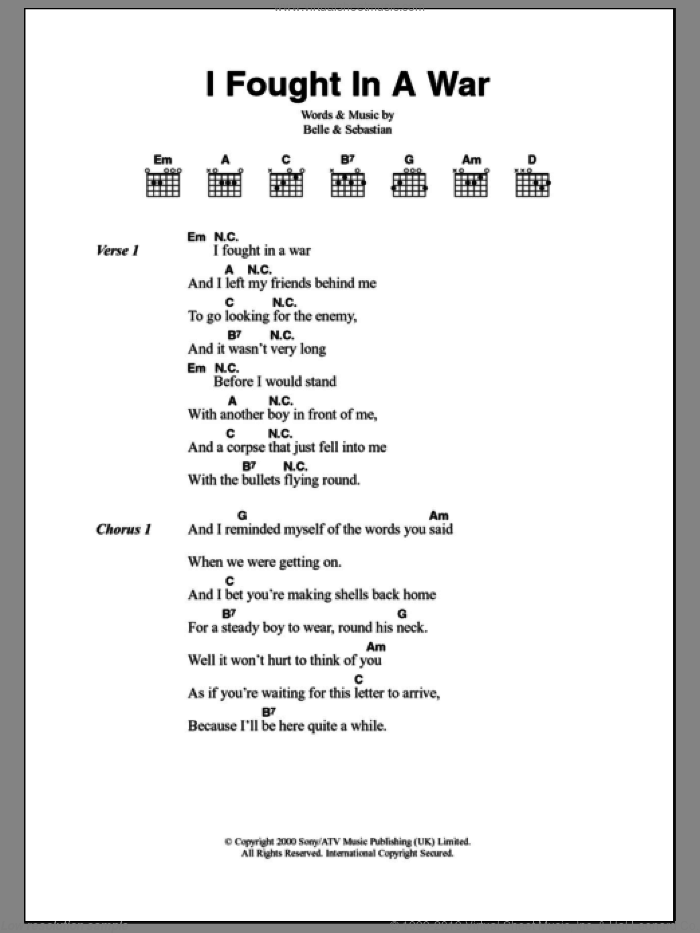I Fought In A War sheet music for guitar (chords), intermediate. Score Image Preview.