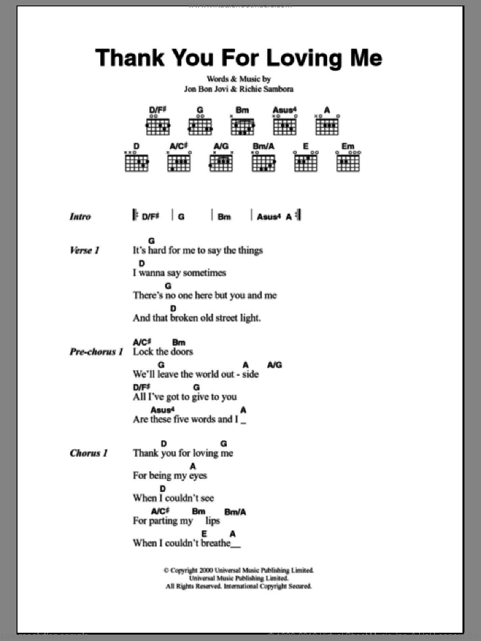 Thank You For Loving Me sheet music for guitar (chords) by Richie Sambora and Bon Jovi. Score Image Preview.