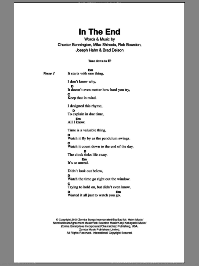 In The End sheet music for guitar (chords) by Linkin Park, Brad Delson, Chester Bennington, Joseph Hahn, Mike Shinoda and Rob Bourdon, intermediate