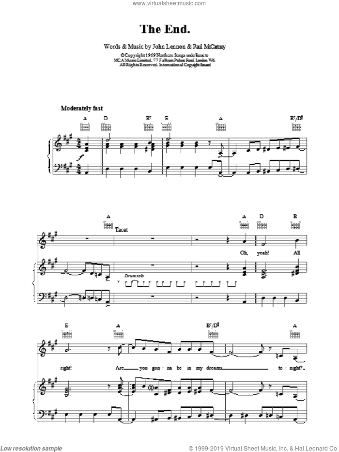 The End sheet music for voice, piano or guitar by Paul McCartney, The Beatles and John Lennon. Score Image Preview.