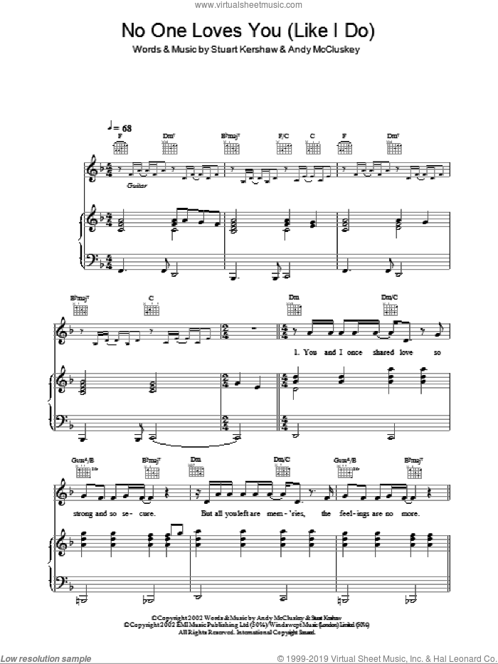 No One Loves You (Like I Love You) sheet music for voice, piano or guitar by Atomic Kitten, Andy McCluskey and Stuart Kershaw, intermediate. Score Image Preview.