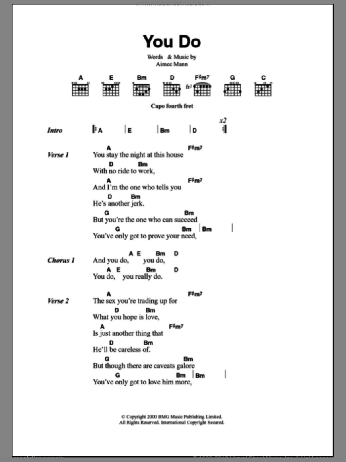 You Do sheet music for guitar (chords) by Aimee Mann, intermediate. Score Image Preview.