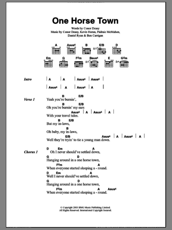One Horse Town sheet music for guitar (chords) by Padraic McMahon, The Thrills and Daniel Ryan. Score Image Preview.