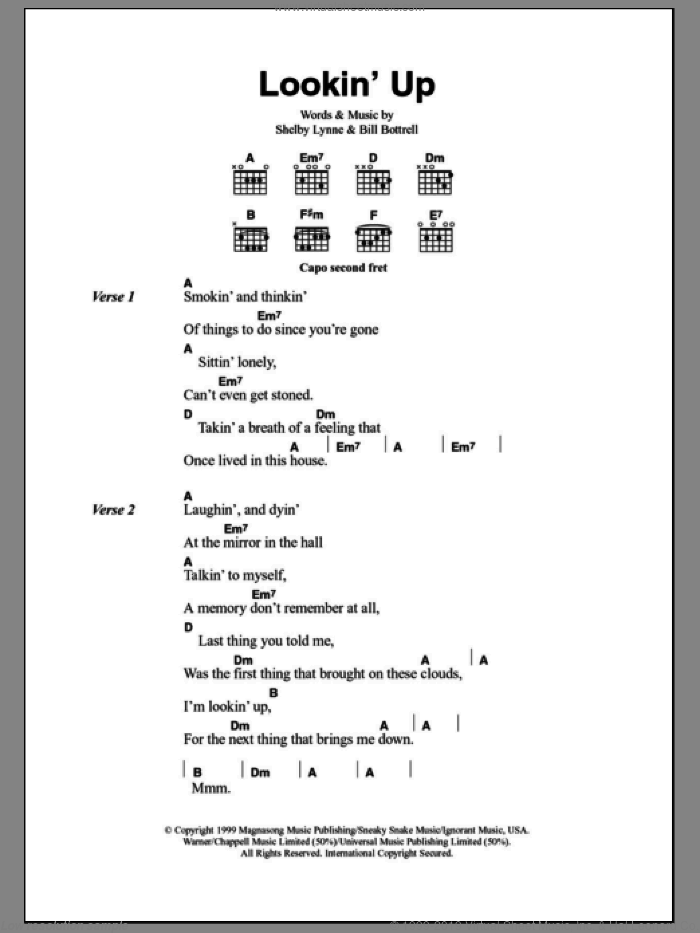 Lookin' Up sheet music for guitar (chords) by Shelby Lynne and Bill Bottrell, intermediate