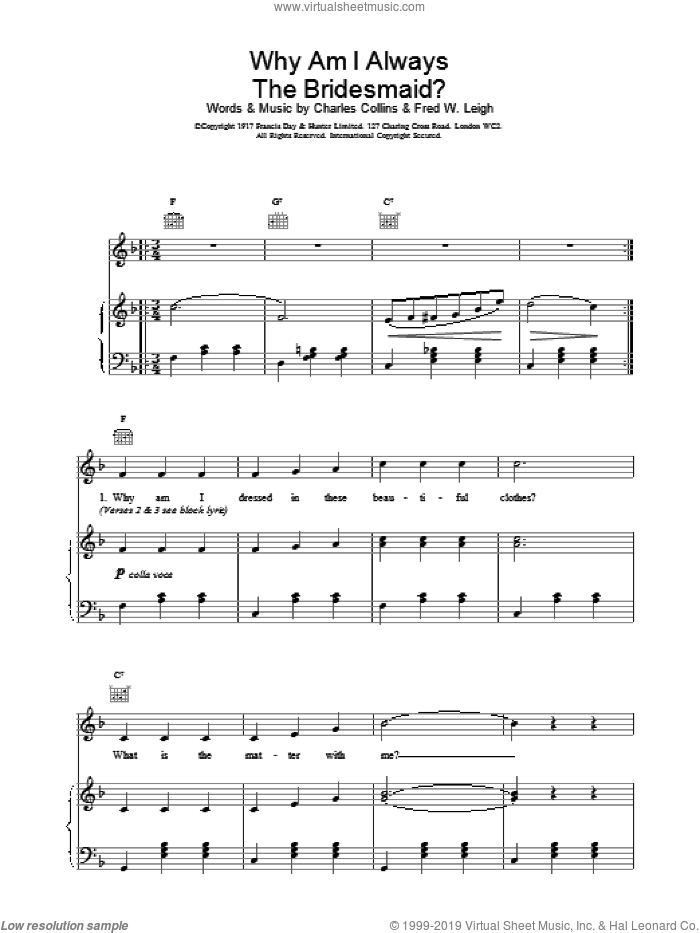 Why Am I Always The Bridesmaid? sheet music for voice, piano or guitar by Charles Collins, Miscellaneous and Fred W. Leigh, intermediate skill level