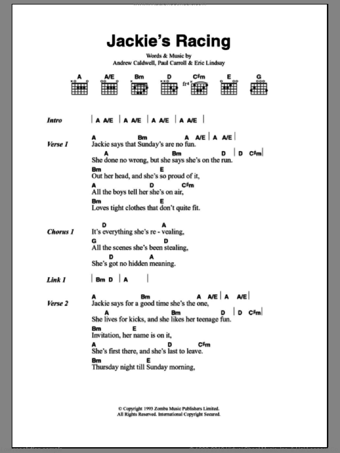 Jackie's Racing sheet music for guitar (chords) by Paul Carroll
