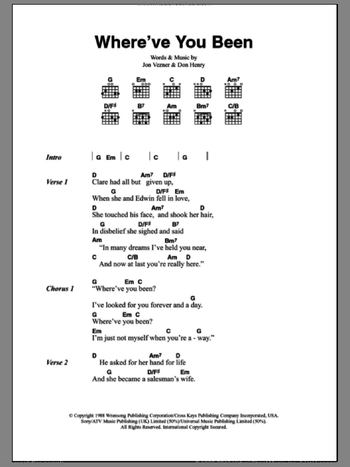 Where've You Been sheet music for guitar (chords) by Jon Vezner and Kathy Mattea. Score Image Preview.