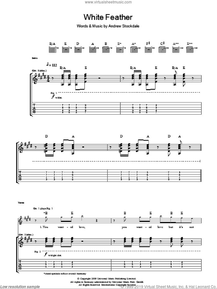 White Feather sheet music for guitar (tablature) by Wolfmother and Andrew Stockdale, intermediate. Score Image Preview.