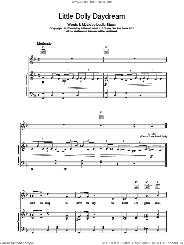 Little Dolly Daydream sheet music for voice, piano or guitar by Leslie Stuart. Score Image Preview.