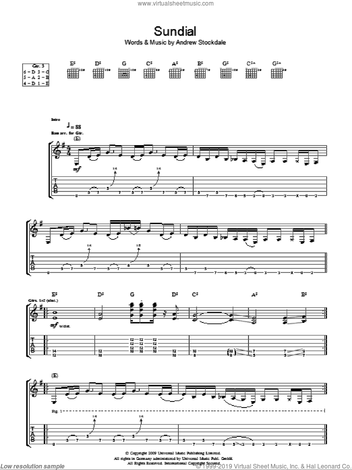 Sundial sheet music for guitar (tablature) by Andrew Stockdale. Score Image Preview.