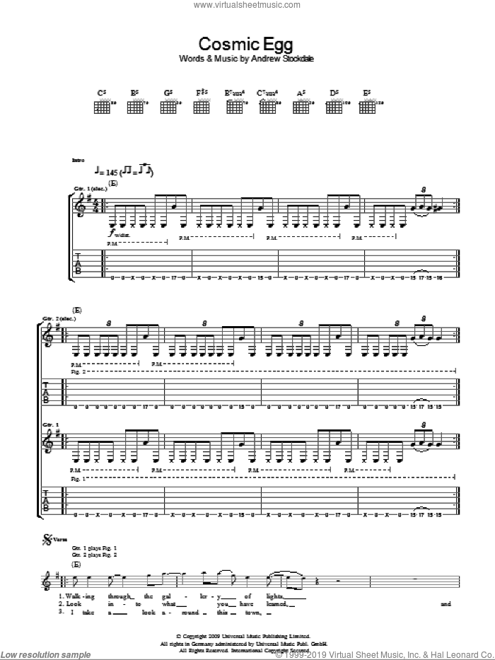 Cosmic Egg sheet music for guitar (tablature) by Wolfmother. Score Image Preview.